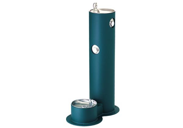 Image for Halsey Taylor EnduraII Tubular Outdoor Fountain, Pedestal with Pet Station, Non-Filtered, Non-Refrigerated from Halsey Taylor