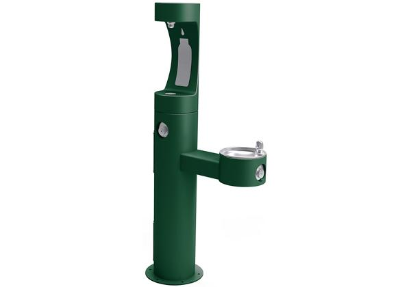 Image for Halsey Taylor Endura II Outdoor HydroBoost Bottle Filling Station, Bi-Level Pedestal Non-Filtered, Non-Refrigerated Evergreen from Halsey Taylor
