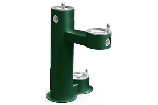 Halsey Taylor Endura II Tubular Outdoor Fountain, Bi-Level Pedestal with Pet Station Non-Filtered Non-Refrigerated