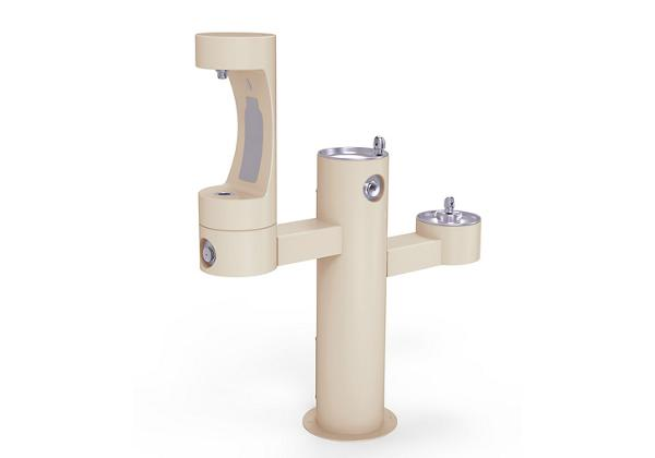 Image for Halsey Taylor Endura II Outdoor HydroBoost Bottle Filling Station, Tri-Level Pedestal Non-Filtered Non-Refrigerated, Beige from Halsey Taylor