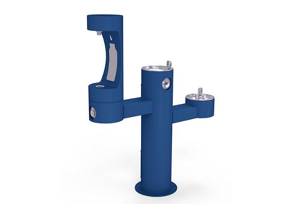 Image for Halsey Taylor Endura II Outdoor HydroBoost Bottle Filling Station, Tri-Level Pedestal Non-Filtered Non-Refrigerated, Blue from Halsey Taylor
