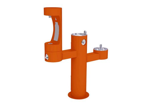 Image for Halsey Taylor Endura II Outdoor HydroBoost Bottle Filling Station, Tri-Level Pedestal Non-Filtered Non-Refrigerated FR, Orange from Halsey Taylor
