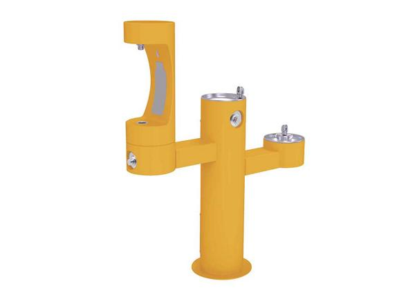 Image for Halsey Taylor Endura II Outdoor HydroBoost Bottle Filling Station, Tri-Level Pedestal Non-Filtered Non-Refrigerated FR, Yellow from Halsey Taylor