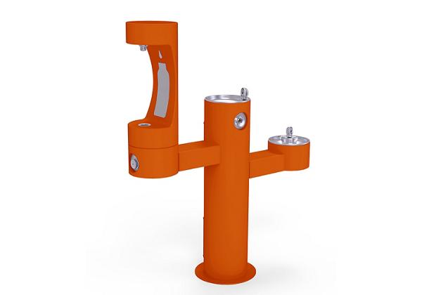 Image for Halsey Taylor Endura II Outdoor HydroBoost Bottle Filling Station, Tri-Level Pedestal Non-Filtered Non-Refrigerated, Orange from Halsey Taylor