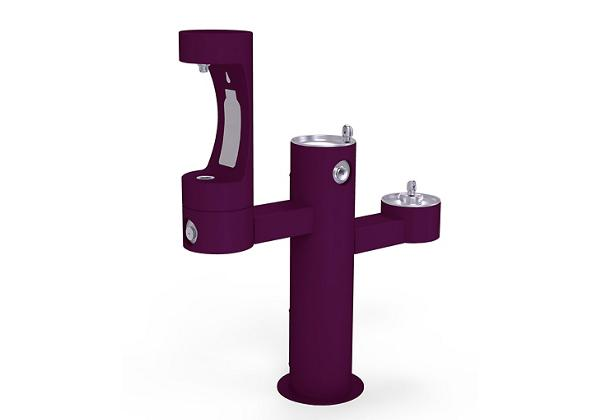 Image for Halsey Taylor Endura II Outdoor HydroBoost Bottle Filling Station, Tri-Level Pedestal Non-Filtered Non-Refrigerated, Purple from Halsey Taylor