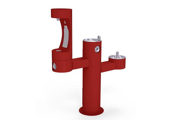 Image for Halsey Taylor Endura II Outdoor HydroBoost Bottle Filling Station, Tri-Level Pedestal Non-Filtered Non-Refrigerated, Red from Halsey Taylor