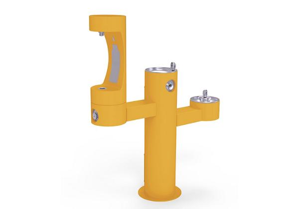 Image for Halsey Taylor Endura II Outdoor HydroBoost Bottle Filling Station, Tri-Level Pedestal Non-Filtered Non-Refrigerated, Yellow from Halsey Taylor