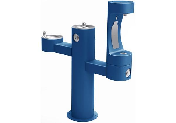 Image for Halsey Taylor Endura II Outdoor HydroBoost Bottle Filling Station, Tri-Level Pedestal Non-Filtered Non-Refrigerated FR, Blue from Halsey Taylor