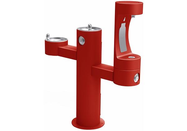 Image for Halsey Taylor Endura II Outdoor HydroBoost Bottle Filling Station, Tri-Level Pedestal Non-Filtered Non-Refrigerated FR, Red from Halsey Taylor