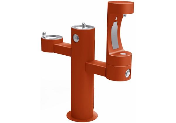 Image for Halsey Taylor Endura II Outdoor HydroBoost Bottle Filling Station, Tri-Lev Pedestal Non-Filtered Non-Refrigerated FR, Terracotta from Halsey Taylor