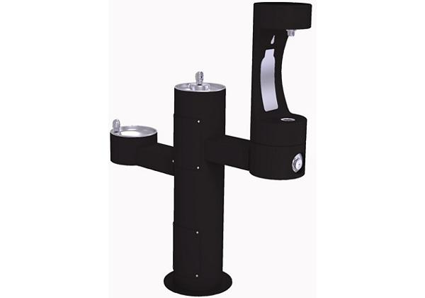 Image for Halsey Taylor Endura II Outdoor HydroBoost Bottle Filling Station, Tri-Level Pedestal Non-Filtered Non-Refrigerated FR, Black from Halsey Taylor