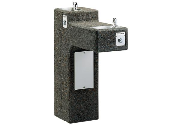 Image for Halsey Taylor Outdoor Sierra Stone Bi-Level Pedestal Fountain, Non-Filtered Non-Refrigerated Freeze Resistant from Halsey Taylor