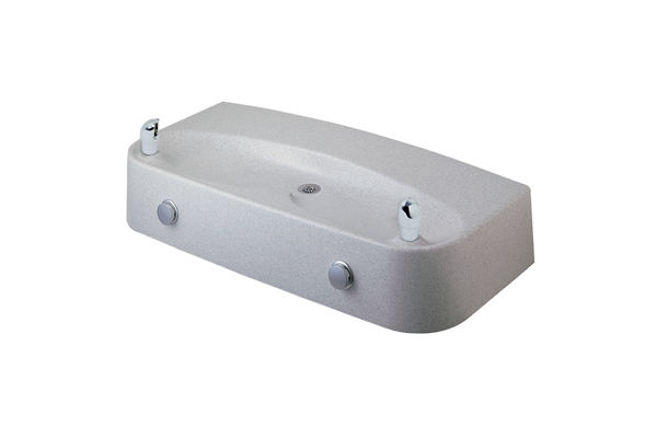 Halsey Taylor Marblyte Multi-Station Fountain, Non-Filtered, Non-Refrigerated, Freeze Resistant, White Granite Composite