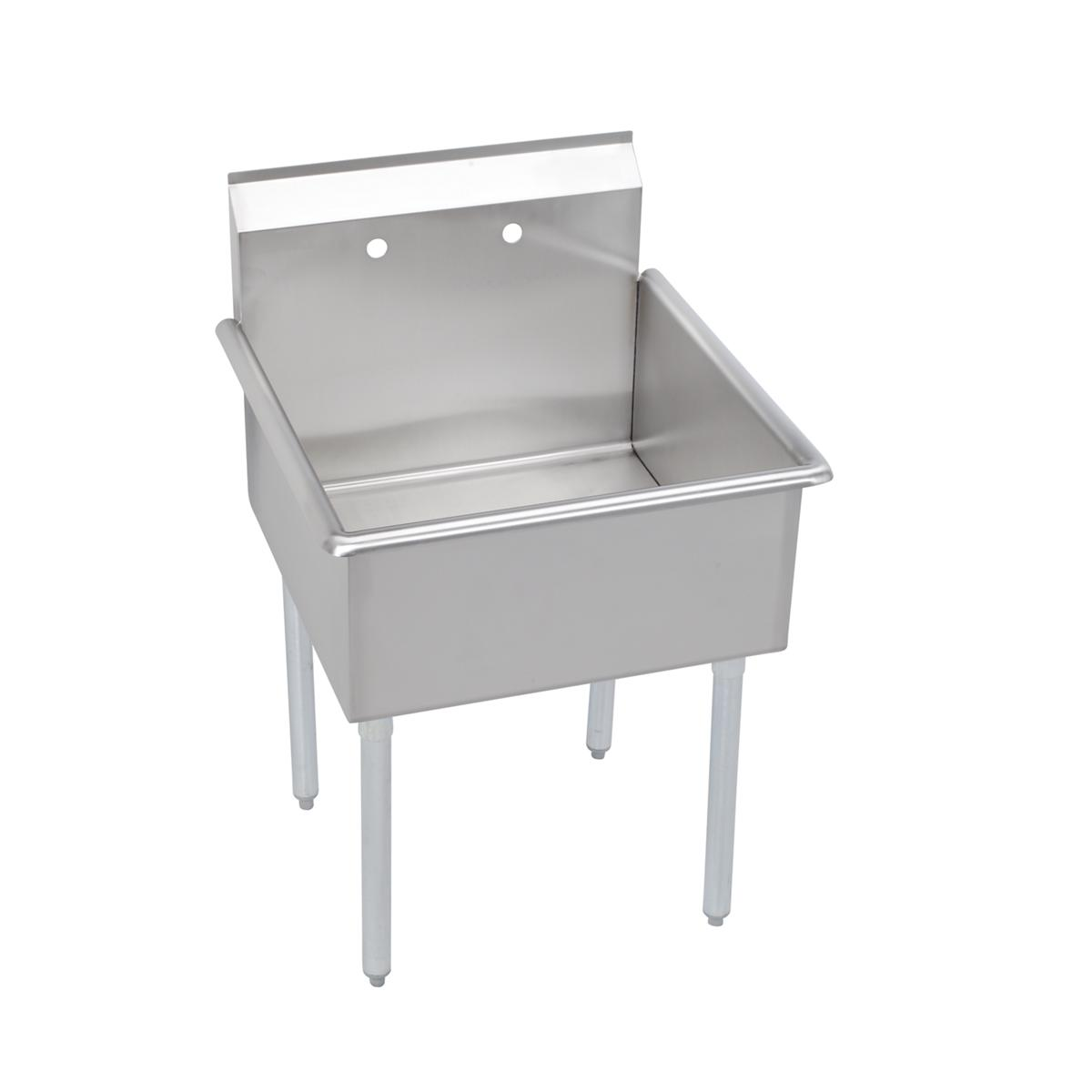 Elkay 1 Compartment Budget Sink, 27x28 Oa, 24x24 Bowl, 12 Deep, No Dbs, Stainless Steel Legs, 18 Ga 300 Series Stainless Steel