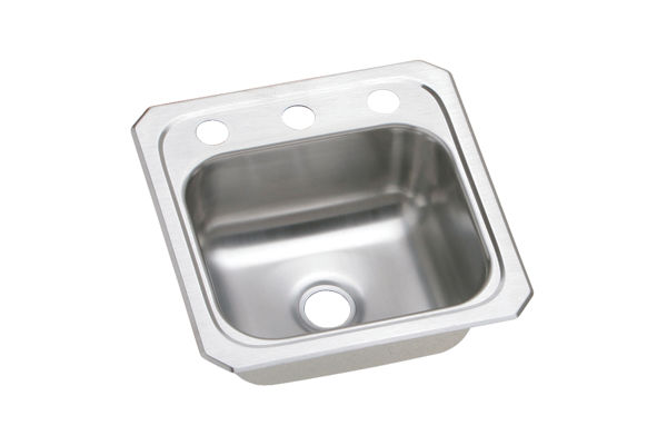 "Elkay Celebrity Stainless Steel 15"" x 15"" x 6-1/8"", Single Bowl Top Mount Bar Sink"