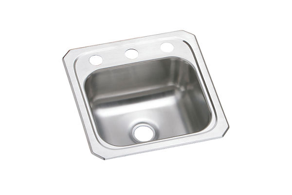"Elkay Celebrity Stainless Steel 15"" x 15"" x 6-1/8"", Single Bowl Drop-in Bar Sink"