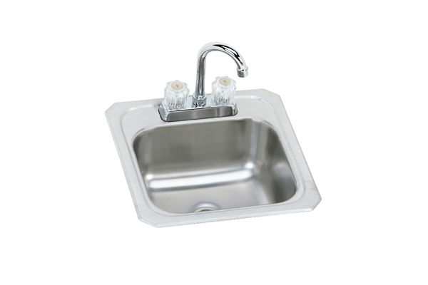 "Elkay Celebrity Stainless Steel 15"" x 15"" x 6-1/8"", Single Bowl Top Mount Bar Sink + Faucet Kit"