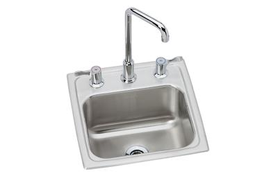 "Image for Elkay Lustertone Classic Stainless Steel 15"" x 15"" x 7-1/8"", Single Bowl Top Mount Bar Sink + Faucet Kit from ELKAY"