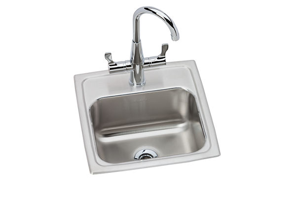 "Elkay Lustertone Stainless Steel 15"" x 15"" x 7-1/8"", Single Bowl Top Mount Bar Sink + Faucet Kit"