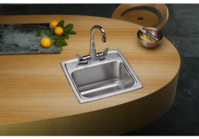 "Image for Elkay Lustertone Stainless Steel 15"" x 15"" x 7-1/8"", Single Bowl Top Mount Bar Sink + Faucet Kit from ELKAY"