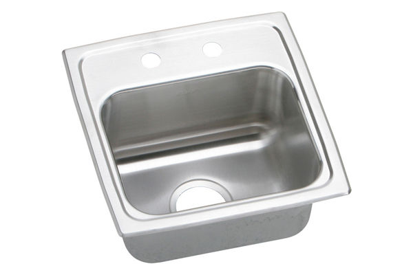 "Elkay Lustertone Stainless Steel 15"" x 15"" x 7-1/8"", Single Bowl Top Mount Bar Sink"
