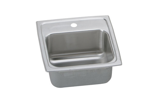 "Elkay Lustertone Stainless Steel 15"" x 15"" x 6-1/8"", Single Bowl Top Mount Bar Sink"