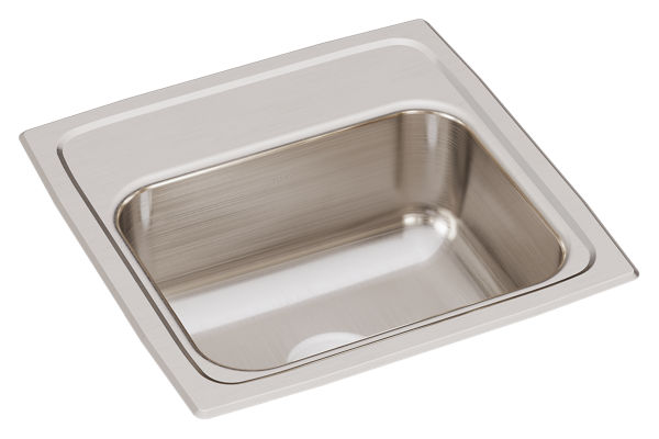 "Elkay Lustertone Classic Stainless Steel 15"" x 15"" x 6-1/8"", Single Bowl Drop-in Bar Sink"