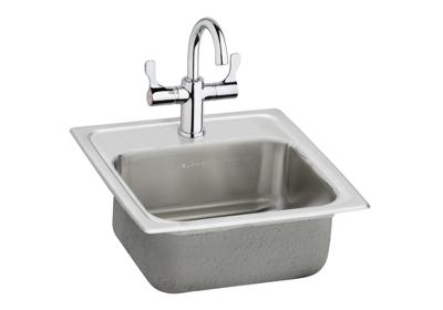 "Image for Elkay Pacemaker Stainless Steel 15"" x 15"" x 6-1/8"", Single Bowl Top Mount Bar Sink + Faucet Kit from ELKAY"