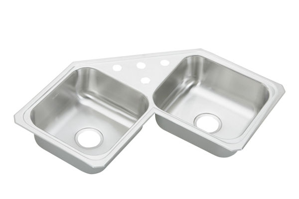 "Elkay Celebrity Stainless Steel 31-7/8"" x 31-7/8"" x 6-7/8"", Equal Double Bowl Corner Sink"