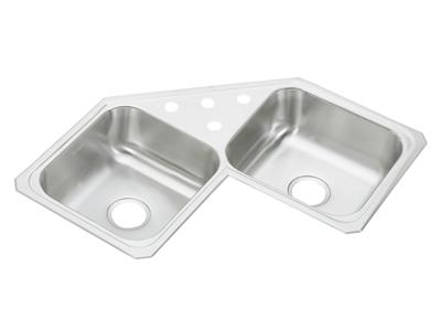 "Image for Elkay Celebrity Stainless Steel 31-7/8"" x 31-7/8"" x 6-7/8"", Equal Double Bowl Corner Sink from ELKAY"