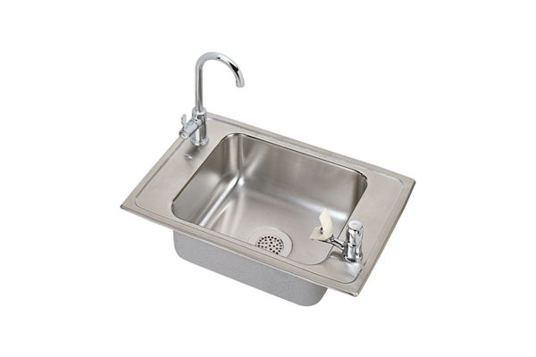 "Elkay Celebrity Stainless Steel 25"" x 17"" x 6-1/2"", Single Bowl Top Mount Classroom ADA Sink and Faucet Kit"