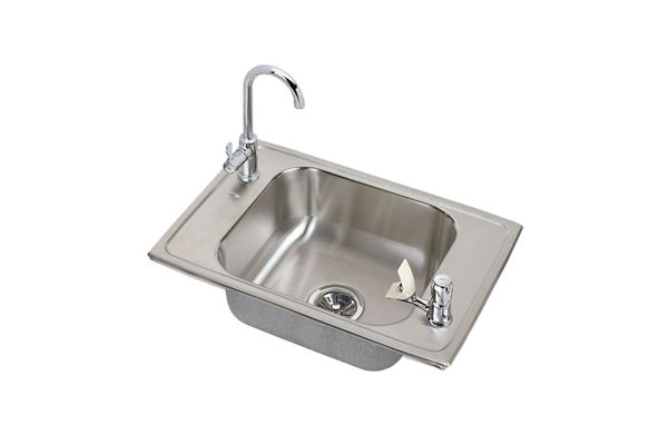 "Elkay Celebrity Stainless Steel 25"" x 17"" x 6-7/8"", Single Bowl Top Mount Classroom Sink and Faucet / Bubbler Kit"