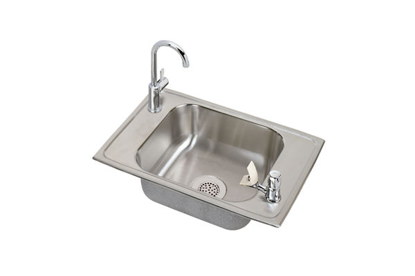 Celebrity Stainless Steel Single Bowl Top Mount Sink + Faucet Kit