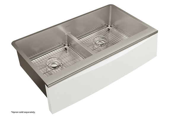 "Elkay Crosstown Stainless Steel 35-7/8"" x 20-5/16"" x 9"" Double Bowl Farmhouse Sink Kit with Aqua Divide for Interchangeable Apron"