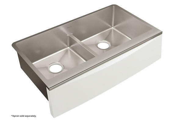 "Elkay Crosstown Stainless Steel 35-7/8"" x 20-5/16"" x 9"" Double Bowl Farmhouse Sink with Aqua Divide for Interchangeable Apron"