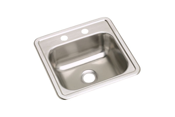 "Dayton Stainless Steel 15"" x 15"" x 5-3/16"", Single Bowl Top Mount Bar Sink"