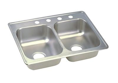"Image for Dayton Stainless Steel 25"" x 19"" x 6-5/16"", Equal Double Bowl Top Mount Sink from ELKAY"