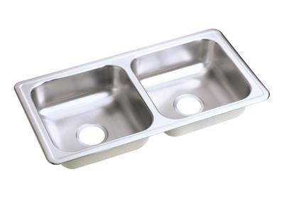 "Image for Dayton Stainless Steel 33"" x 17"" x 6"", Equal Double Bowl Top Mount Sink from ELKAY"