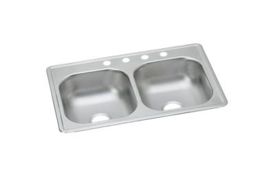 "Image for Dayton Stainless Steel 33"" x 19"" x 6-7/16"", Equal Double Bowl Top Mount Sink from ELKAY"