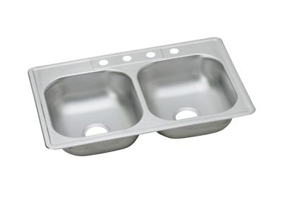 "Image for Dayton Stainless Steel 33"" x 21-1/4"" x 6-9/16"", Equal Double Bowl Top Mount Sink from ELKAY"