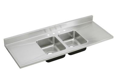 "Image for Elkay Lustertone Classic Stainless Steel 66"" x 25"" x 7-1/2"", Equal Double Bowl Sink Top from ELKAY"