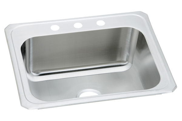 "Elkay Gourmet Stainless Steel 25"" x 22"" x 12-1/4"", Single Bowl Top Mount Sink"