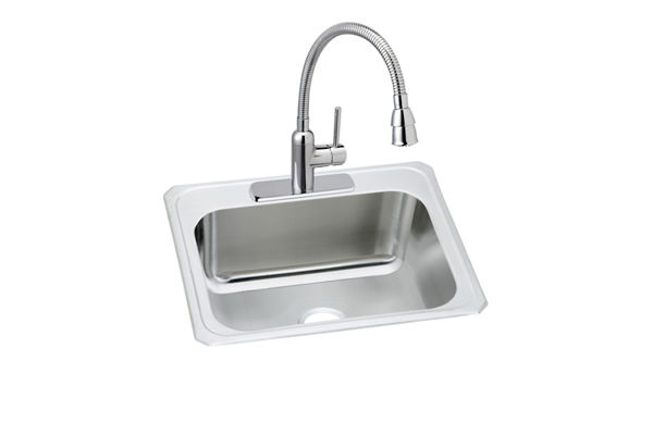 "Elkay Pursuit Stainless Steel 25"" x 22"" x 12-1/4"", Single Bowl Top Mount Sink and Faucet Kit"