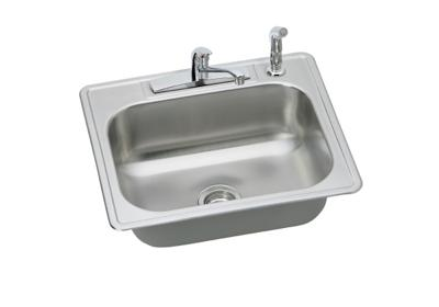 "Image for Dayton Stainless Steel 25"" x 22"" x 7-1/16"", Single Bowl Top Mount Sink and Faucet Kit from ELKAY"