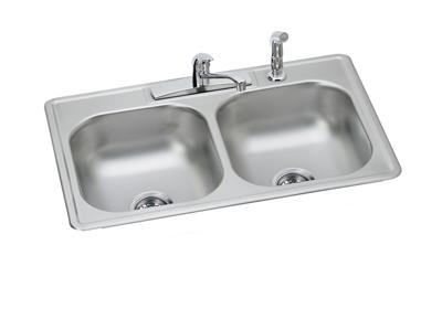 "Image for Dayton Stainless Steel 33"" x 22"" x 7-1/16"", Equal Double Bowl Drop-in Sink and Faucet Kit from ELKAY"