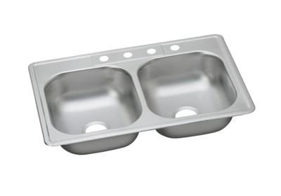 "Image for Dayton Stainless Steel 33"" x 22"" x 7-1/16"", Equal Double Bowl Top Mount Sink from ELKAY"