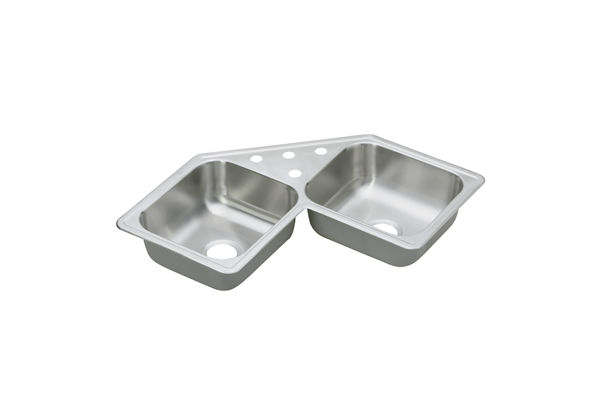 "Dayton Stainless Steel 31-7/8"" x 31-7/8"" x 7"", Equal Double Bowl Corner Sink"