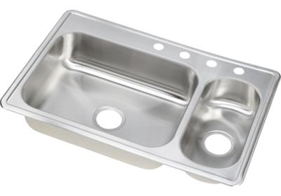 "Image for Dayton Stainless Steel 33"" x 22"" x 6-1/2"", 70/30 Double Bowl Top Mount Sink from ELKAY"