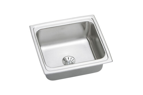 "Elkay Lustertone Stainless Steel 19"" x 18"" x 10-1/8"", Single Bowl Top Mount Bar Sink with Perfect Drain"