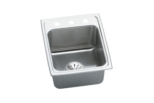 "Elkay Lustertone Stainless Steel 17"" x 22"" x 10-1/8"", Single Bowl Top Mount Sink with Perfect Drain"